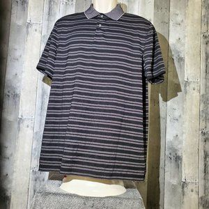 Tasso Elba Supima Cotton Gray Striped Polo